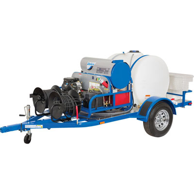 GAS PRESSURE WASHER WITH TRAILER FEATURES
